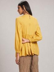 Mustard Embroidered A-Line Kurti