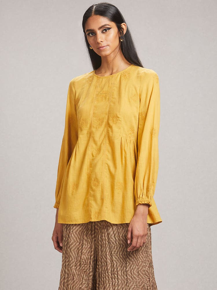 Mustard Embroidered A-Line Kurti