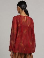 Red Printed Gathered Kurti