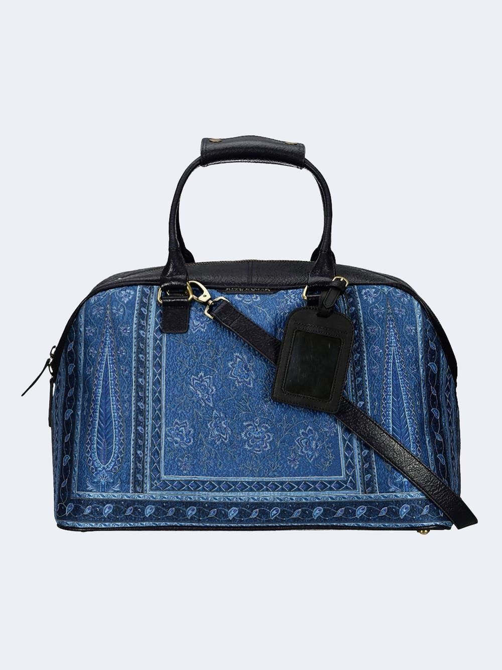 Indigo & Black Embossed Luggage Bag
