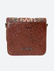 Caramel Brown & Beige Printed Leather Sling Bag