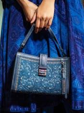 Navy Blue Floral Print Sling Bag