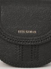 Black Embossed Leather Sling Bag