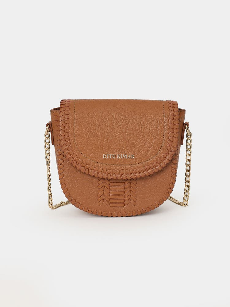 Tan Brown Leather Sling Bag
