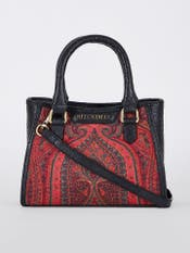 Black & Maroon Embroidered Leather Bag