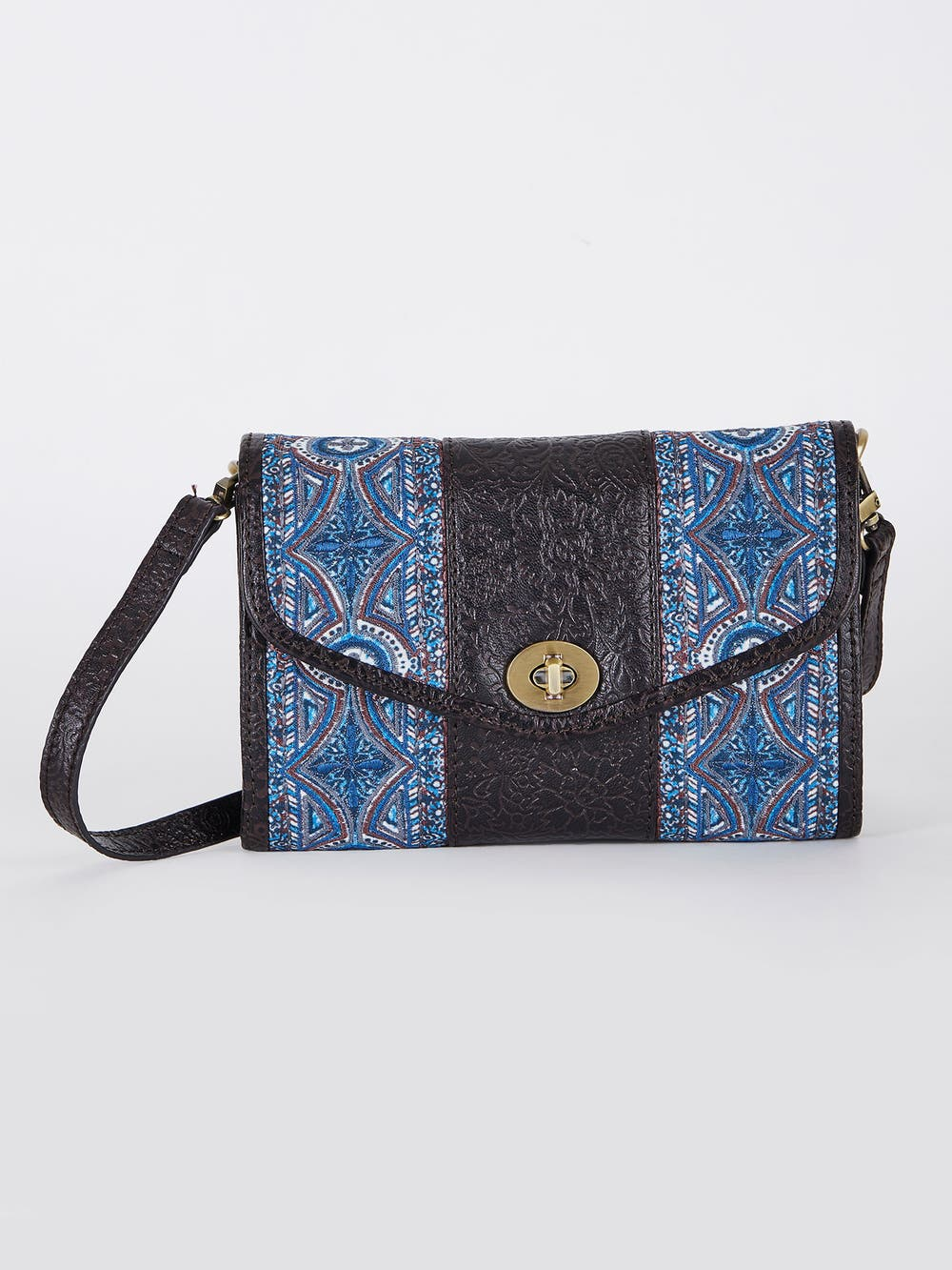 Blue & Brown Embossed Leather Sling Bag
