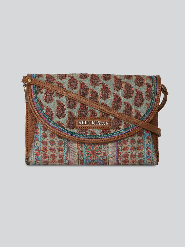 Tan Printed Sling Bag
