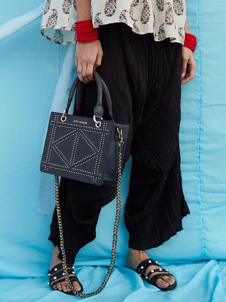 Navy Blue Leather Grab Bag