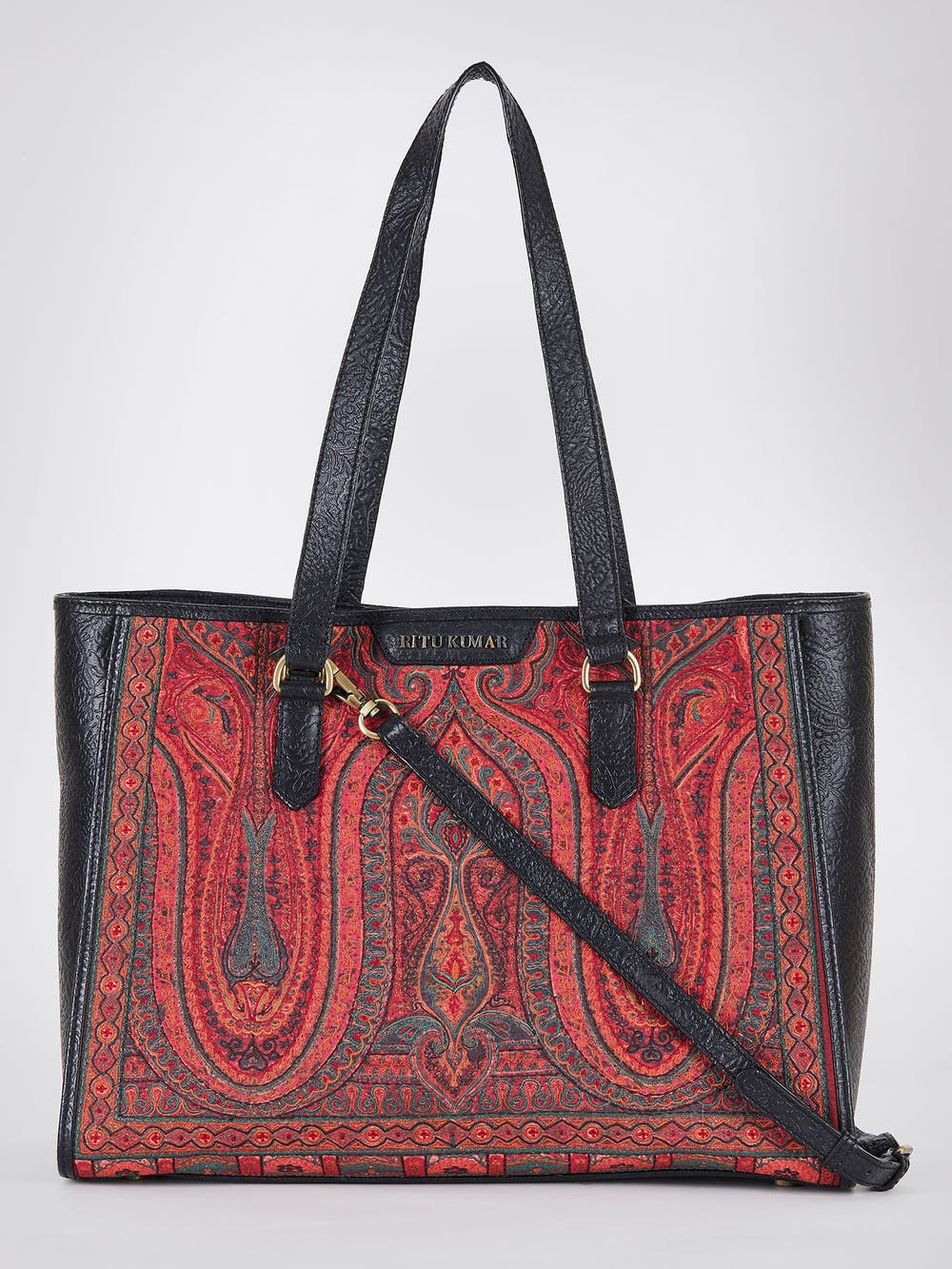 Black & Maroon Embroidered Leather Hand Bag