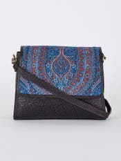 Blue & Brown Embossed Leather Hand Bag