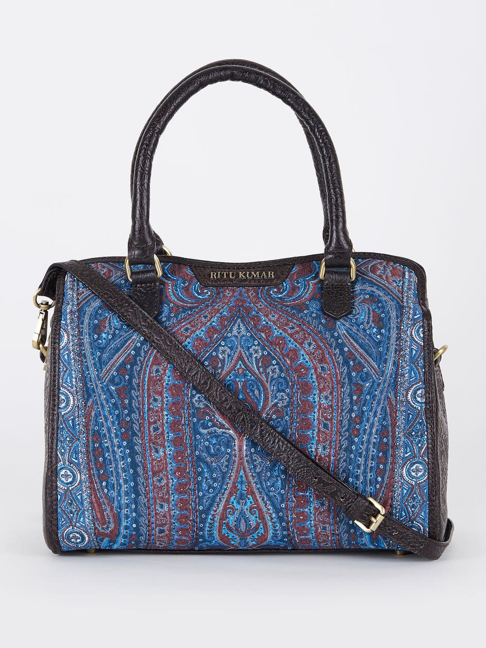 Blue & Brown Embossed Leather Bag