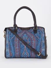 Blue & Brown Embossed Leather Bag
