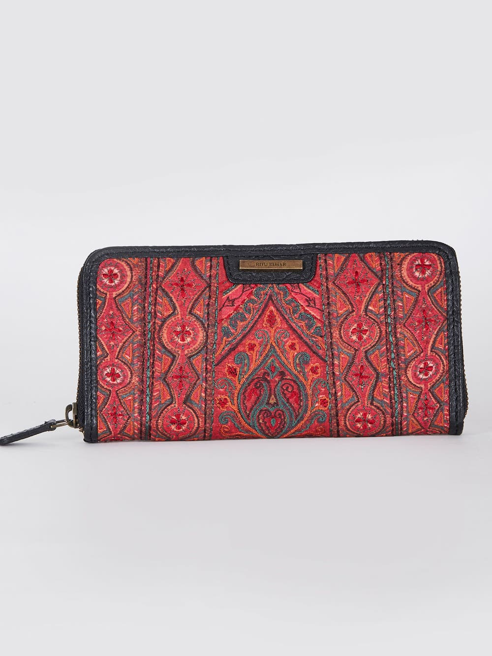 Black & Maroon Embroidered Leather Wallet
