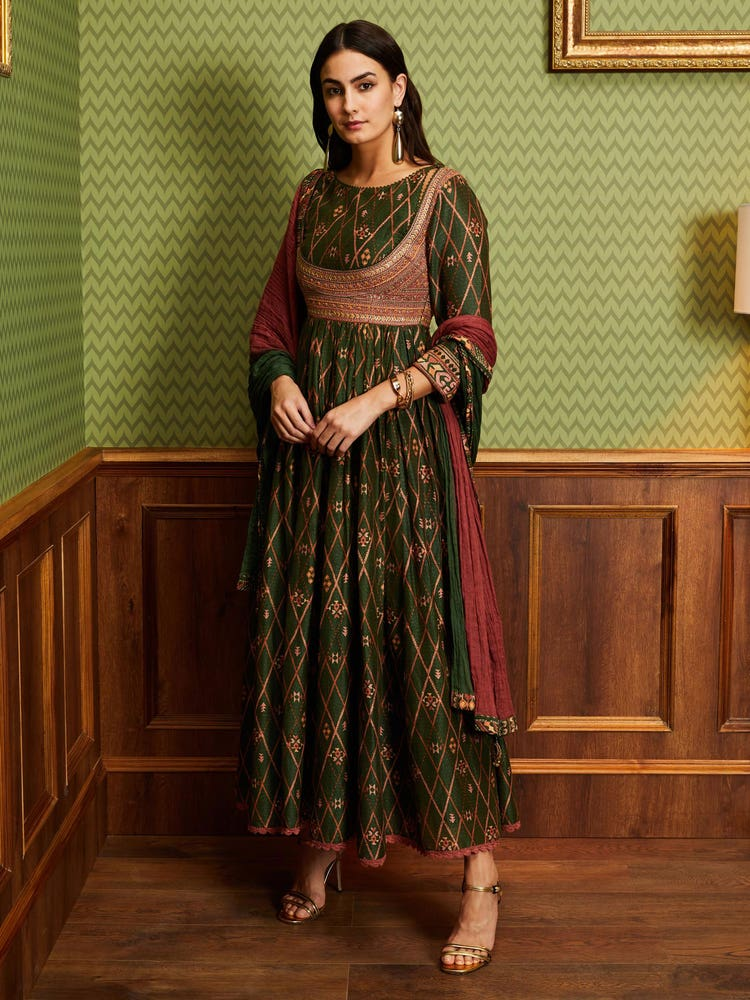 Green Printed Anarkali with Dupatta