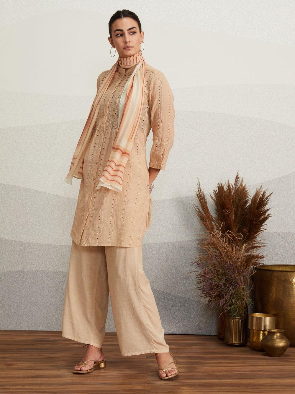 Beige Schiffly Cotton Suit Set
