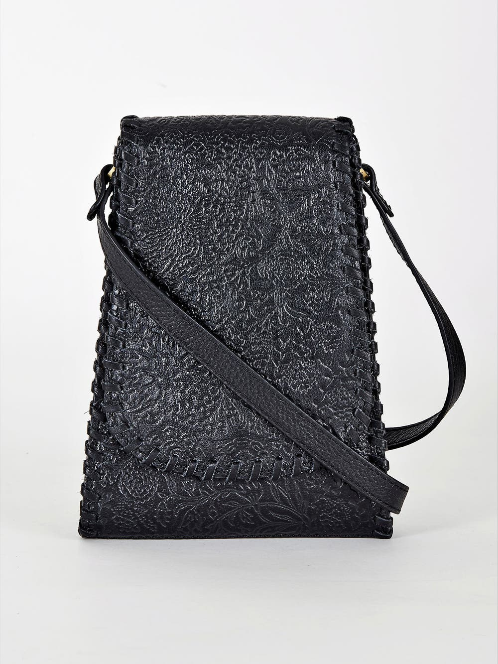 Black Embossed Leather Mobile Sling