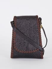 Dark Brown Embossed Leather Mobile Sling