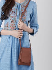 Tan Brown Embossed Leather Mobile Sling
