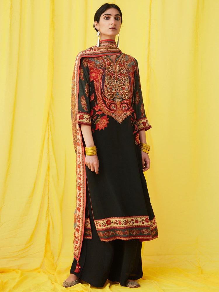Black Floral Print Suit Set