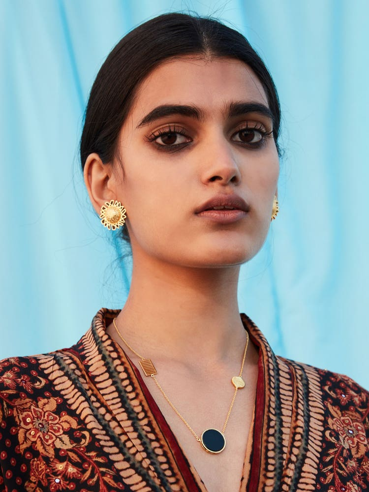 RITU KUMAR by LATIQUE Golden Elam Earrings