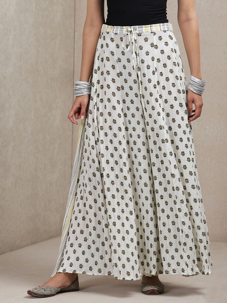Off White Printed Crinkled Palazzos