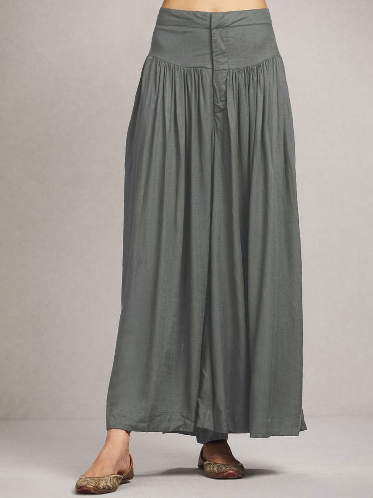 Khaki Green Flared Palazzos