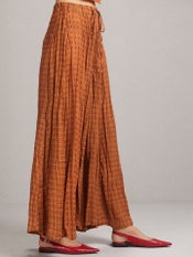 Taupe Printed Crinkled Palazzos