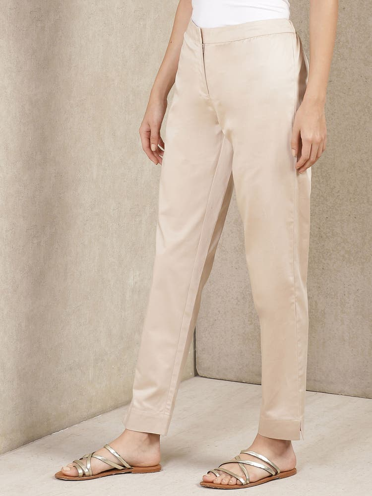 Beige Solid Trousers