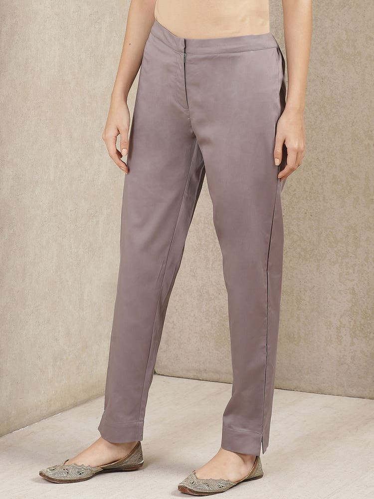 Grey Solid Trousers