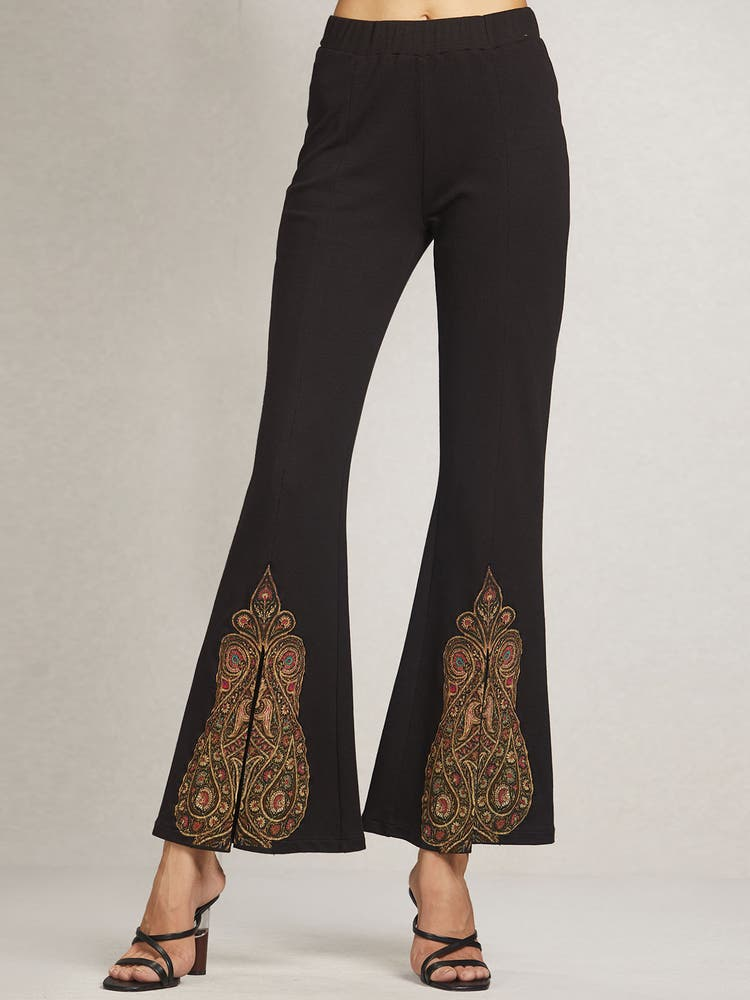 Black Printed Pants with Slits