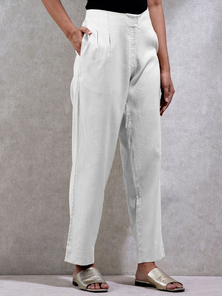 Off White Solid Straight Leg Pants