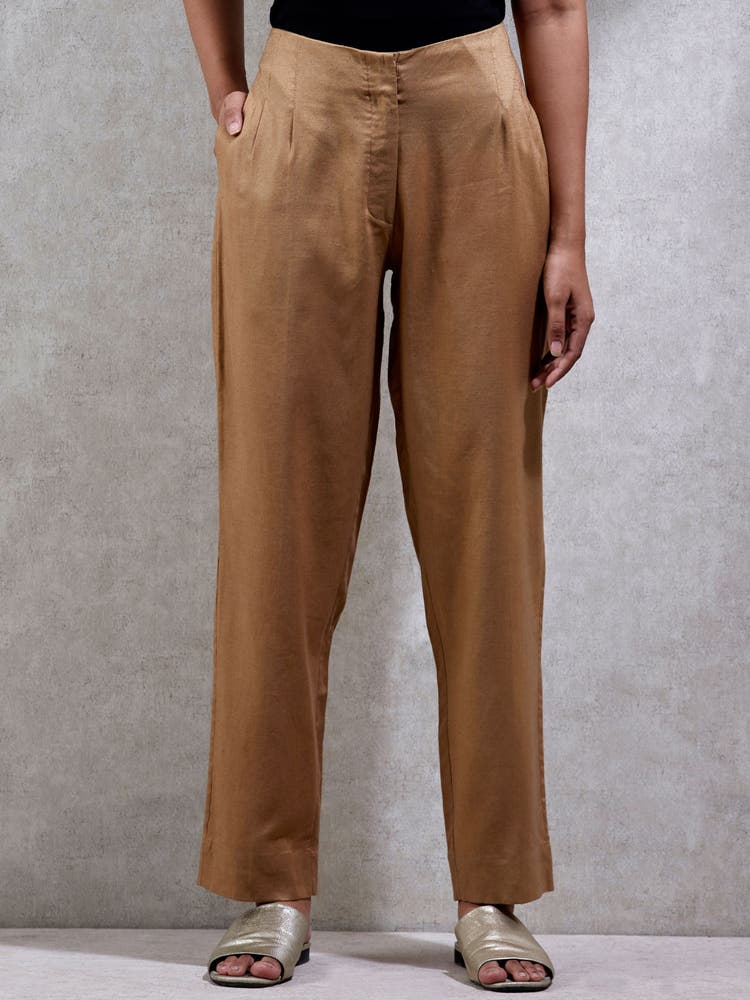 Beige Solid Straight Leg Pants