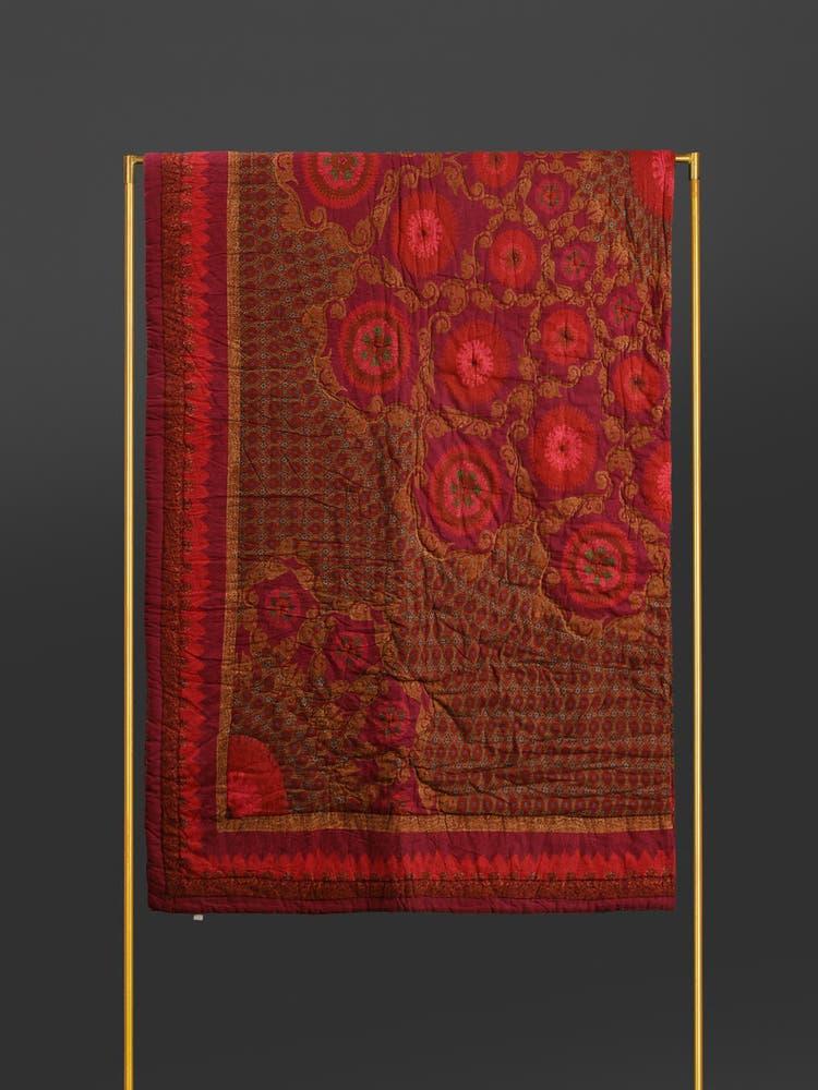 Red Ikkat Double Bed Quilt