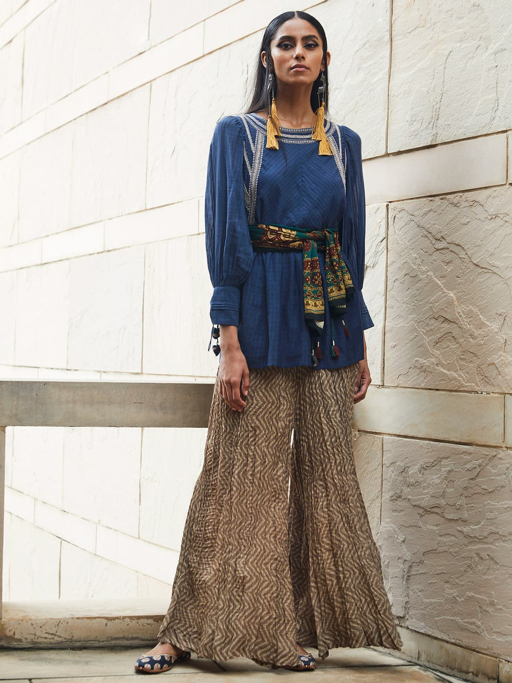 Navy Blue Solid Tiered Kurti