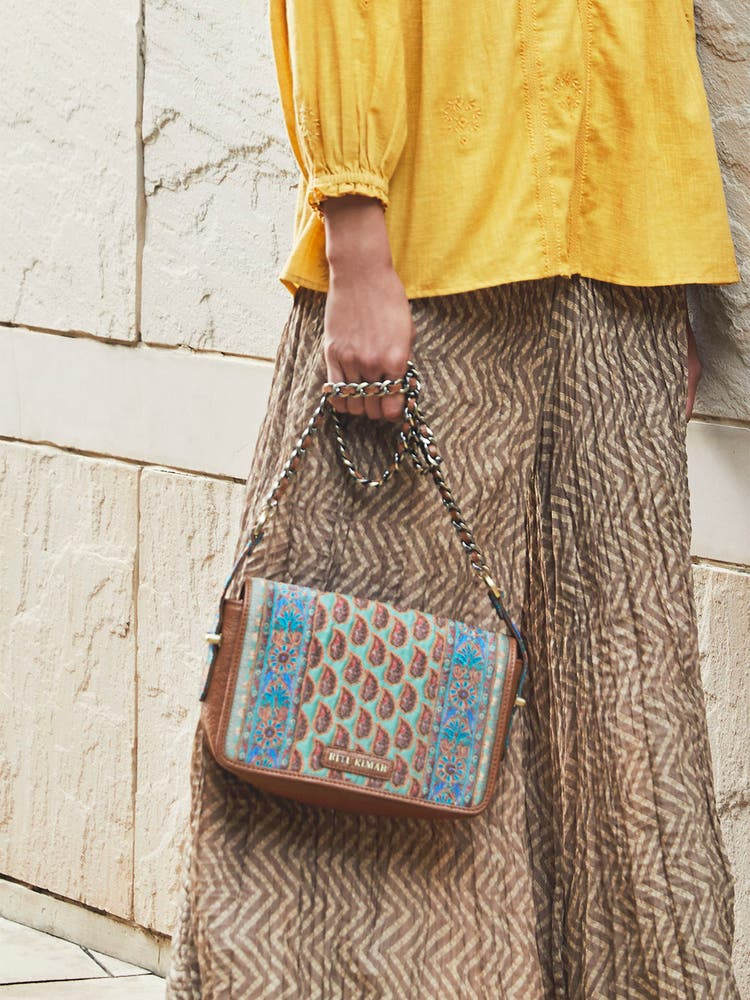 Tan Printed Flap Sling Bag