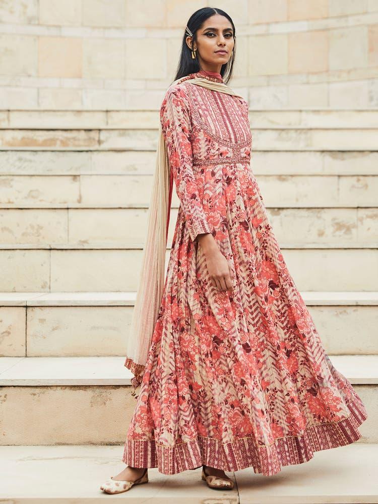 Rose Floral Print Anarkali Suit Set