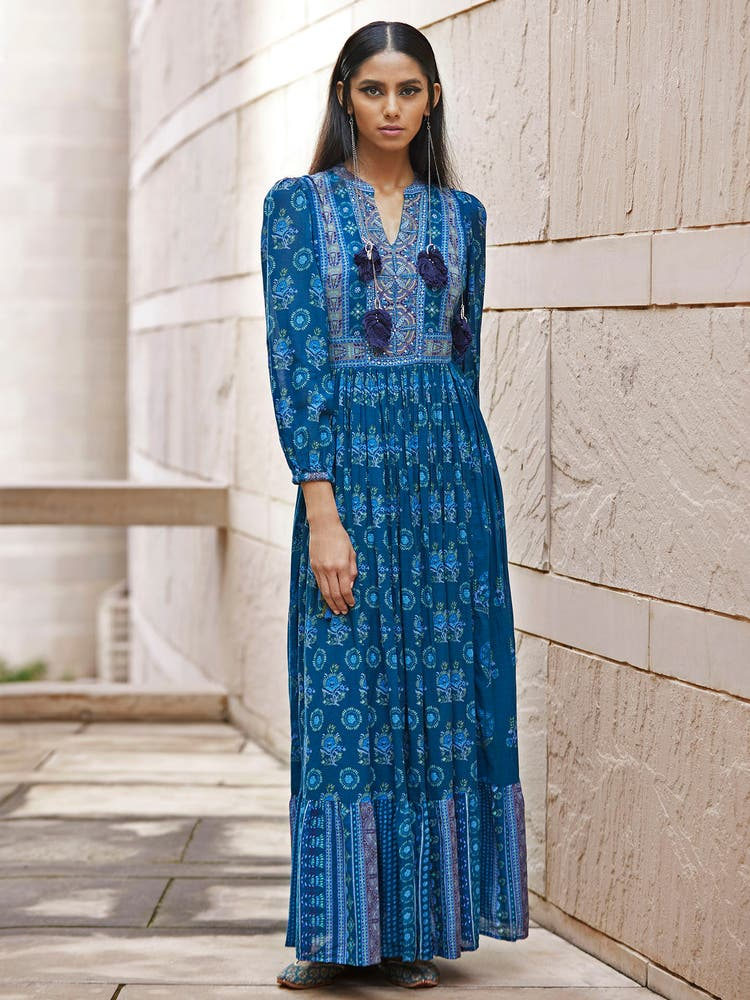 Navy Blue Printed Kurta Dress