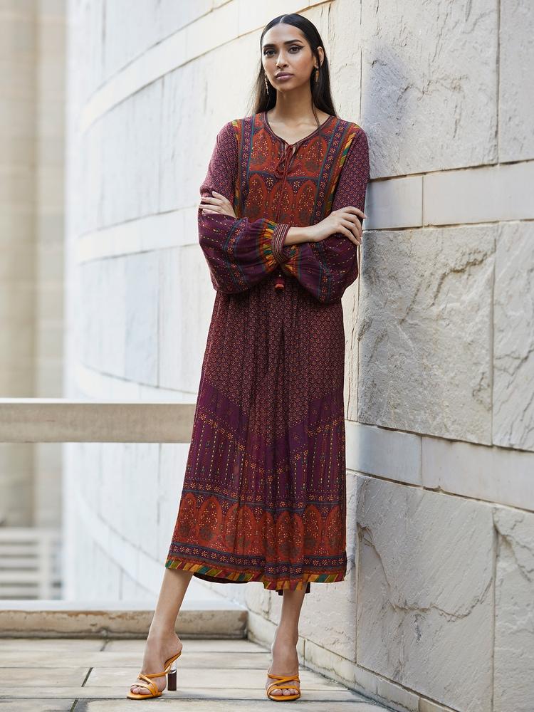 Prune & Rust Floral Print Dress