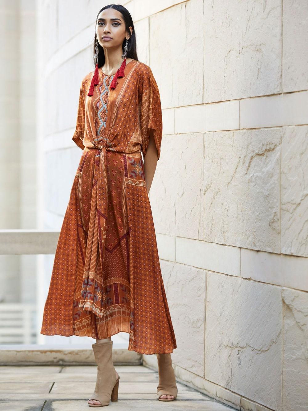 Taupe Printed Wrap Dress