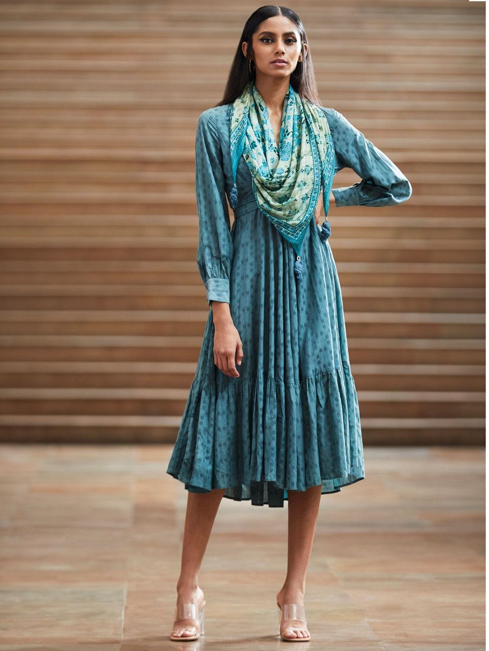 Teal Blue Anarkali Dress With Scarf