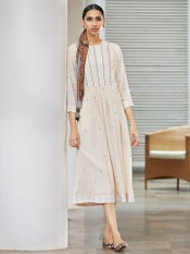Off White Solid A-Line Kurta