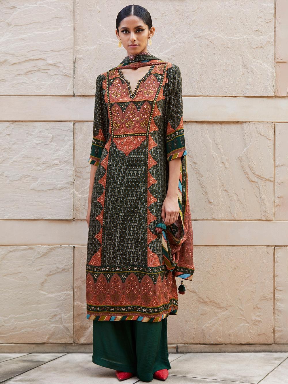 Bottle Green & Rust Floral Print Suit Set