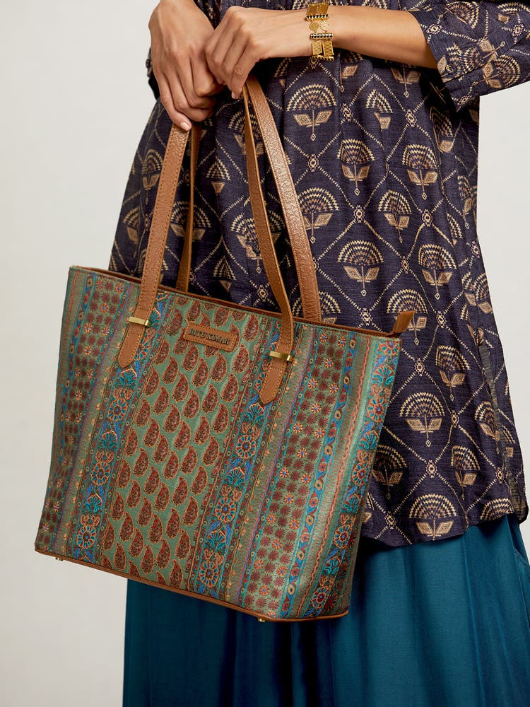 Tan Printed Tote Bag