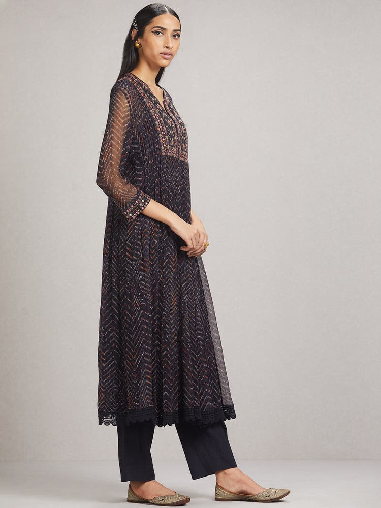 Midnight Blue Leheriya Embroidered Suit Set