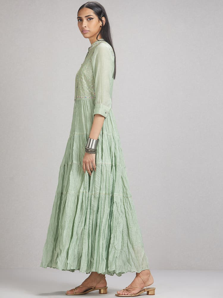 Mint Green Embroidered Chanderi Dress