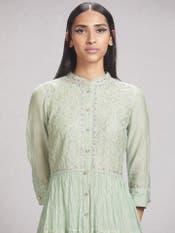 Mint Green Embroidered Chanderi Dress