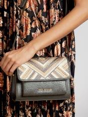 Grey Embroidered Sling Bag
