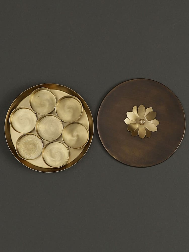 Gold Lotus Condiment Box
