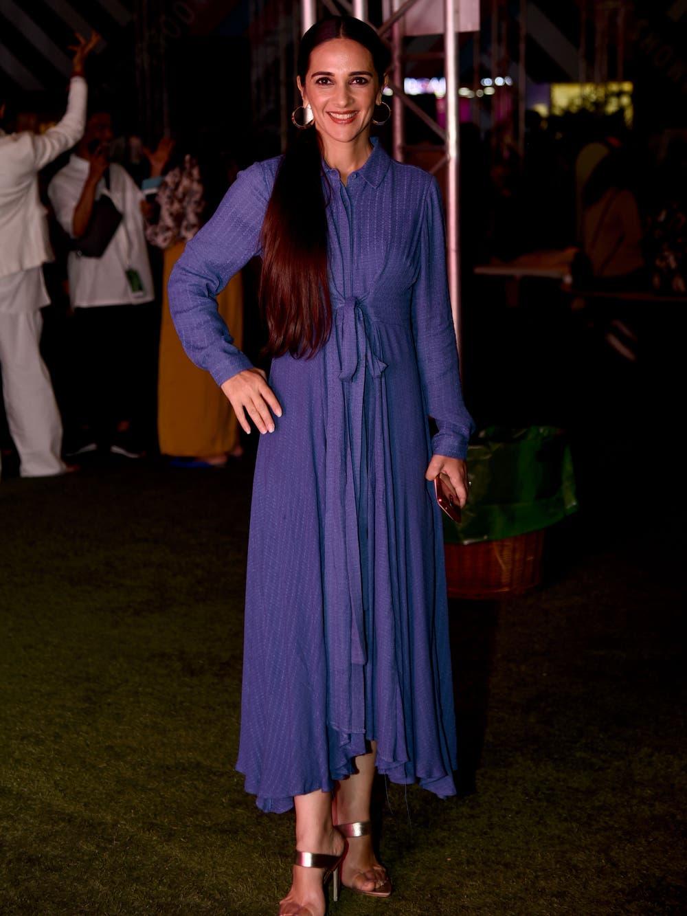 Tara Sharma in a Blue Self-Tie Kurta Dress