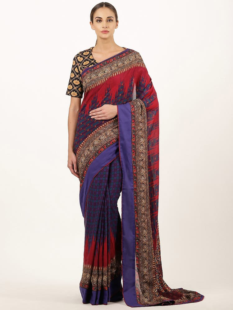 Navy Kalamkari Saree